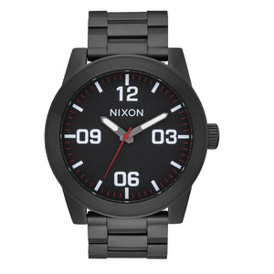 NIXON Corporal SS All Black White Red Accents Quartz