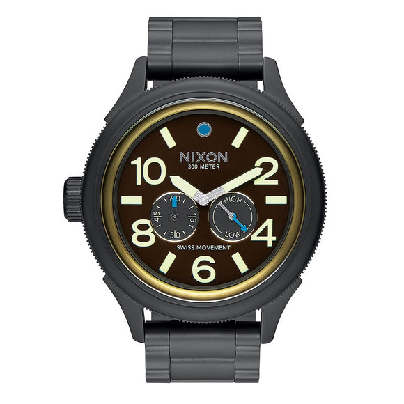 NIXON October Tide All Black Brass Brown Dial Swiss Movement