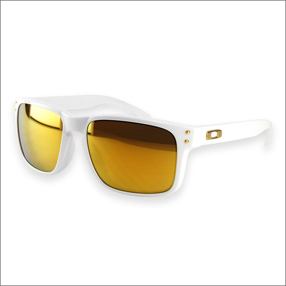 OAKLEY HOLBROOK OO9244-14 Polished White 24K Iridium Lens Asian Fit NEW