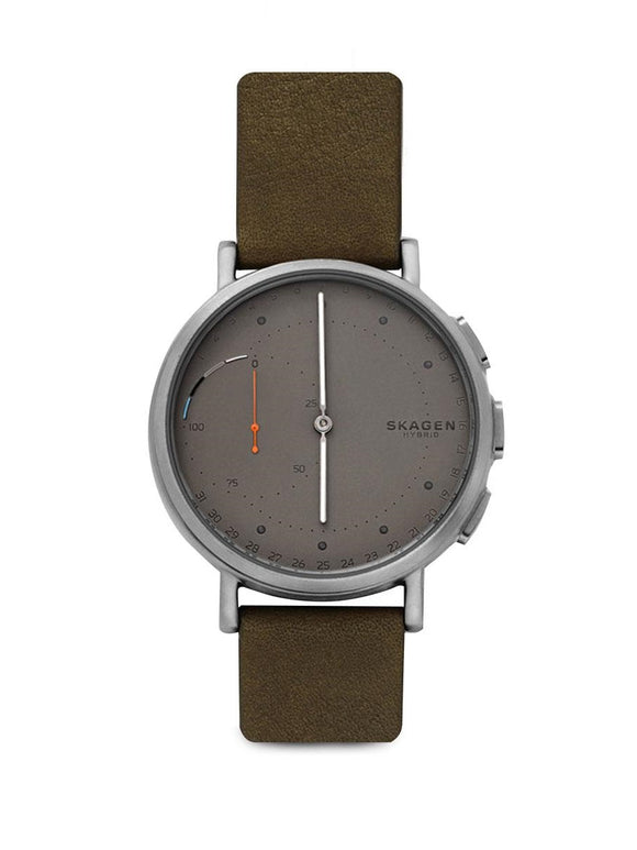 Skagen Connected SKT1114 Signatur Hybrid Grey Dial Green Leather Band
