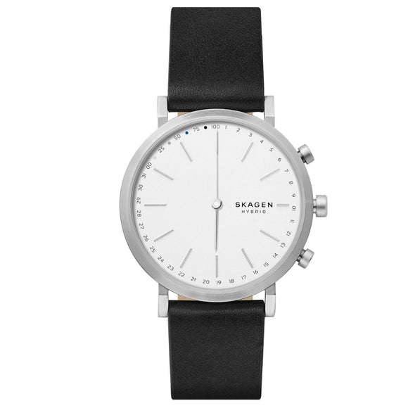 Skagen Connected SKT1205 Hald Hybrid Smartwatch Sliver Black Leather Band
