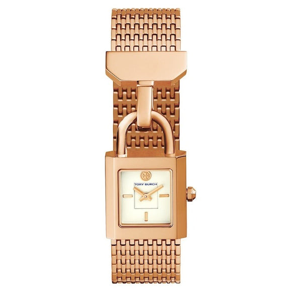 TORY BURCH TBW7102 Surrey Rose Gold White Dial Lock Stainless Steel
