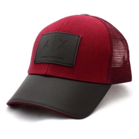 ARMANI EXCHANGE Red Black Leather A|X Logo Patch Mesh Adjustable Trucker Hat