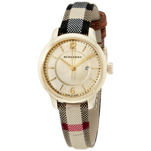 Burberry BU10104 The Classic Round Honey Heritage Check Leather Swiss