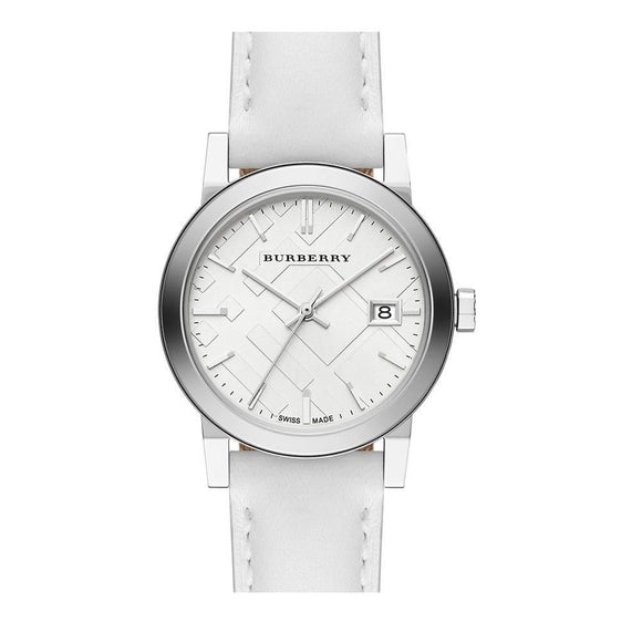 Burberry BU9128 The City White Leather Silver Dial Leather
