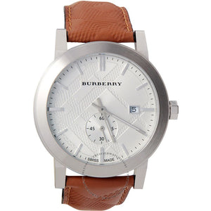 Burberry BU9904 The City Brown Embossed Check Leather Silver Dial