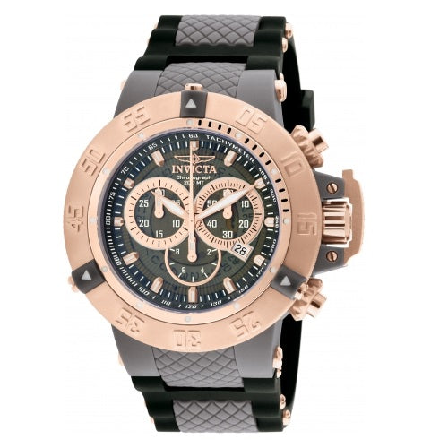 Invicta Subaqua 0932 Gunmetal Rose Gold accent Black Silicone Band