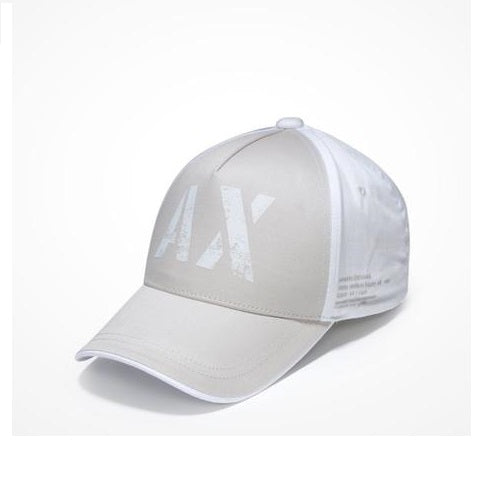 ARMANI EXCHANGE Grey White A|X Logo Cotton Adjustable Hat