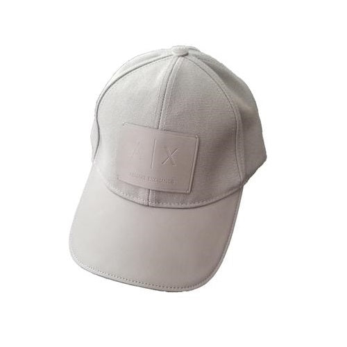 ARMANI EXCHANGE Gray Leather A|X Logo Patch Mesh Trucker Adjustable Hat