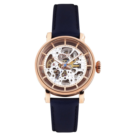 Fossil ME3086 Original Boyfriend Rose Gold Navy Leather Automatic Skeleton