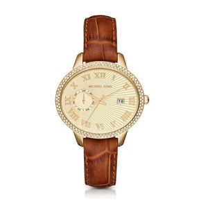 Michael Kors MK2428 Whitley Gold Amber Croc Embossed Leather Band Brown