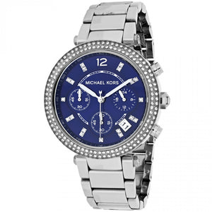 Michael Kors MK6117 Parker Silver Blue Dial Glitz Stainless steel