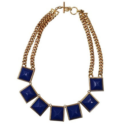 Michael Kors MKJ2982 Gold Blue Pyramid Double Chain Necklace