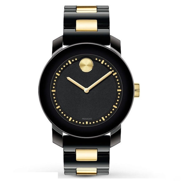 Movado 3600172 Bold Black Ceramic Ion Plated Gold Accent Swiss