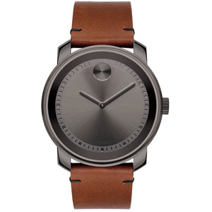 Movado 3600366 Bold Gunmetal Brown Leather Band Gray Dial Swiss