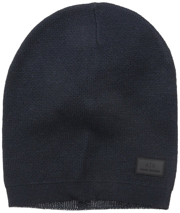 ARMANI EXCHANGE Blue Navy Classic Knit Logo Patch Wool Beanie Hat