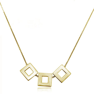 123 Large Square Necklace necklaces KATHRYN New York Yellow Gold Vermeil 16 inches