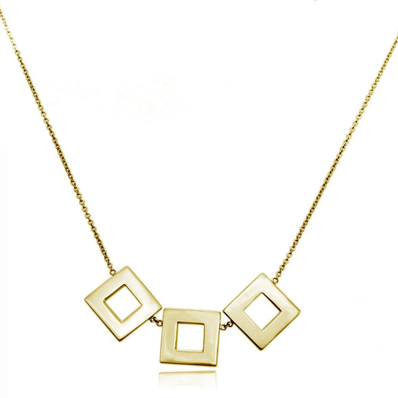 123 Small Square Necklace necklaces KATHRYN New York Yellow Gold Vermeil 16 inches