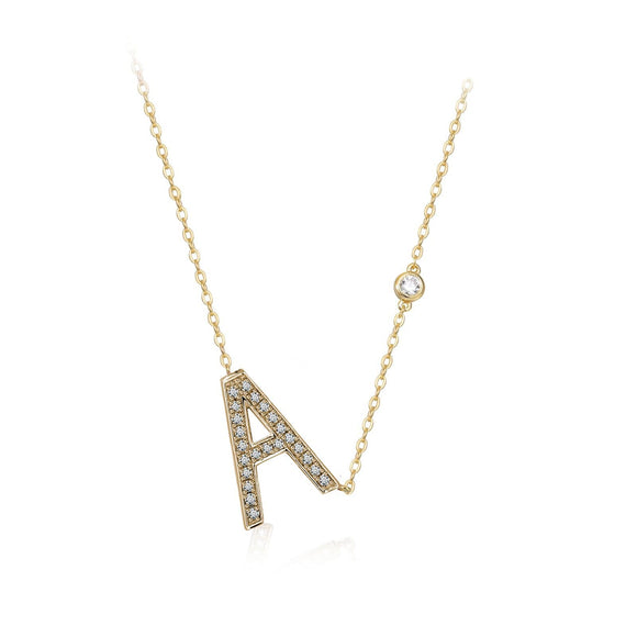 A Initial Bezel Chain Necklace