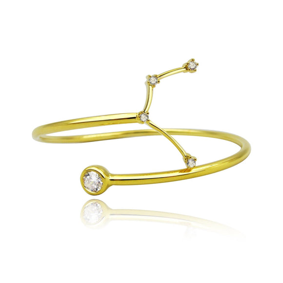 Aquarius Constellation Wire Bezel Cuff