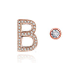 B Initial Bezel Mismatched Earrings