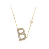 B Initial Bezel Chain Necklace