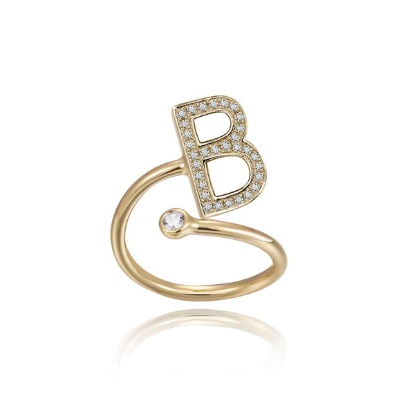 B Initial Bezel Wire Ring