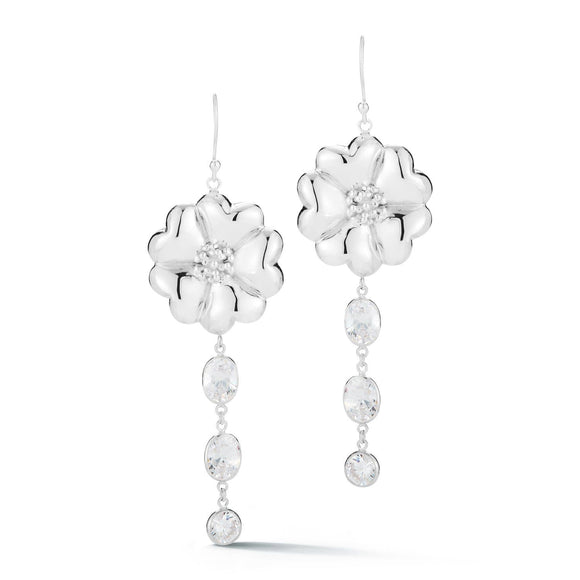 Blossom Mixed Stone Drop Earrings earrings KATHRYN New York White Topaz Silver One Size Fits All