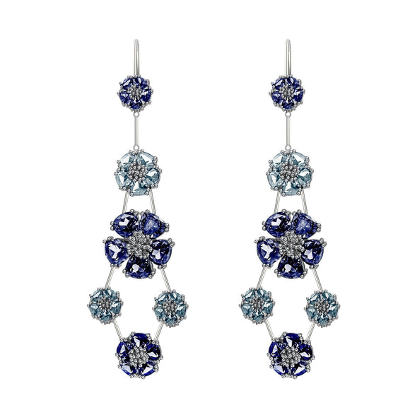 Blossom Double-Tier Chandelier Earrings earrings KATHRYN New York London Blue Topaz Silver One Size Fits All
