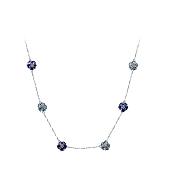 Blossom Gentile Chain Necklace necklaces KATHRYN New York London Blue Topaz Silver One Size Fits All