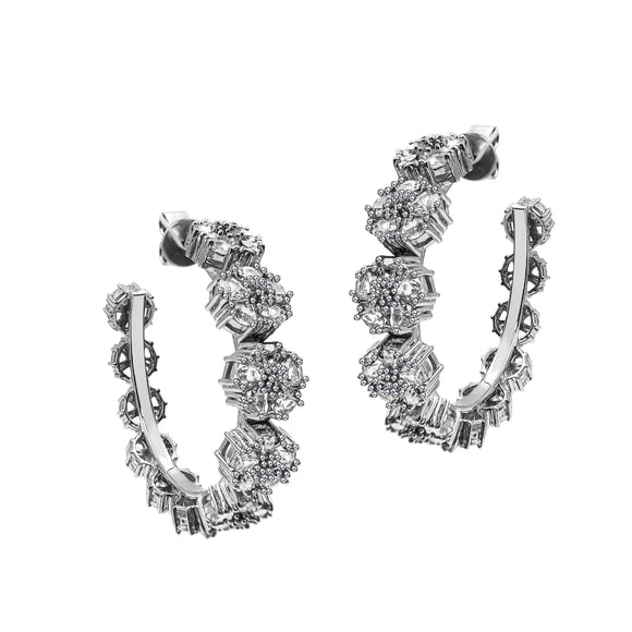 Blossom Gentile Medium Gemstone Hoops earrings KATHRYN New York White Topaz Silver One Size Fits All