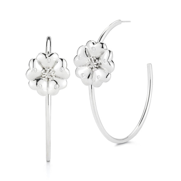 Blossom Pavé Open Hoops earrings KATHRYN New York White Topaz Silver One Size Fits All