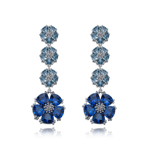 Blossom Renaissance Drop Earrings earrings KATHRYN New York London Blue Topaz Silver One Size Fits All