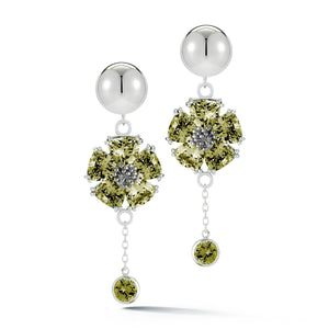 Blossom Stone Bezel Drop Earrings