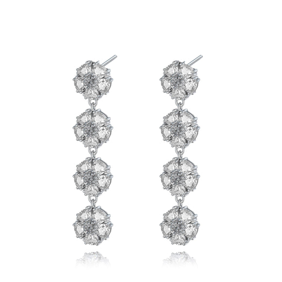 Blossom Gentile Chandelier Earrings earrings KATHRYN New York White Topaz Silver One Size Fits All