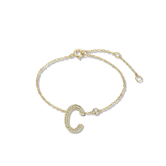 C Initial Bezel Chain Anklet