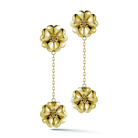 Double Blossom Chain Drop Earrings earrings KATHRYN New York Yellow Gold Vermeil One Size Fits All