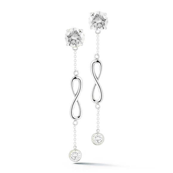 Double Stone Infinity Chain Earrings earrings KATHRYN New York White Topaz Silver One Size Fits All