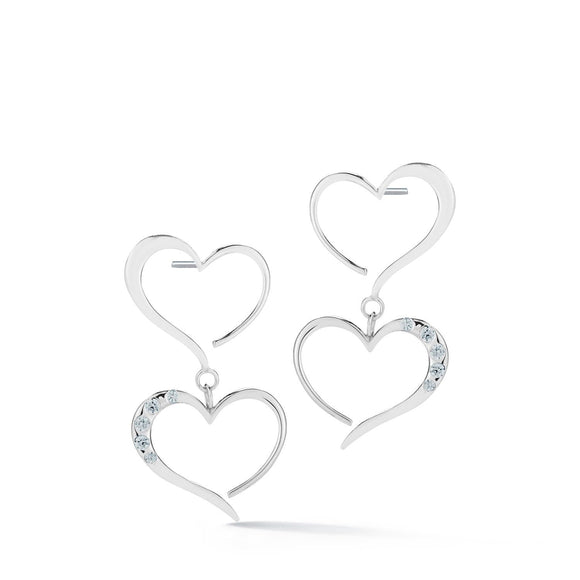 Double Heart Pave Dangle Earrings earrings KATHRYN New York Light Blue Sapphire Silver One Size Fits All