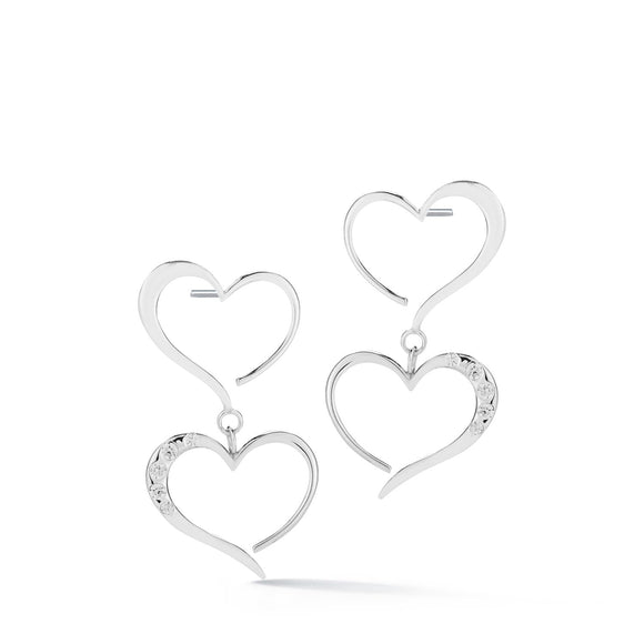 Double Heart Pave Dangle Earrings earrings KATHRYN New York White Topaz Silver One Size Fits All
