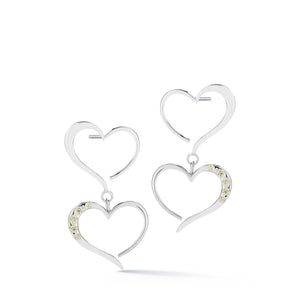 Double heart pave dangle earrings
