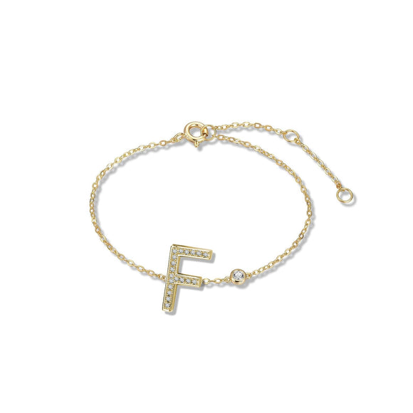F Initial Bezel Chain Anklet