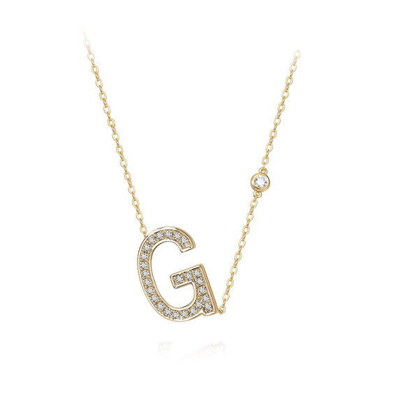 G Initial Bezel Chain Necklace
