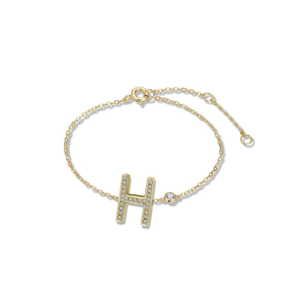 H Initial Bezel Chain Anklet