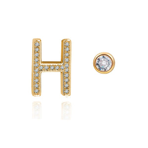 H Initial Bezel Mismatched Earrings