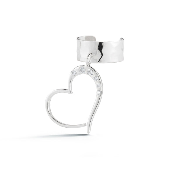 Heart Pavé Earcuff earrings KATHRYN New York White Topaz Silver One Size Fits All