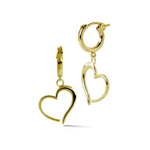 Heart Small Hoop Dangle Earrings earrings KATHRYN New York Yellow Gold Vermeil One Size Fits All