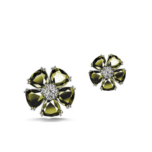 Blossom mixed stone stud earrings