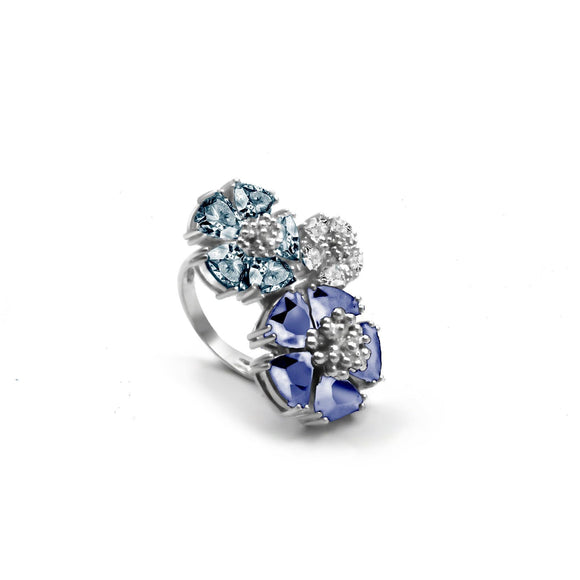 Trifecta blossom stone ring rings KATHRYN New York Dark Blue Sapphire Silver Size 6