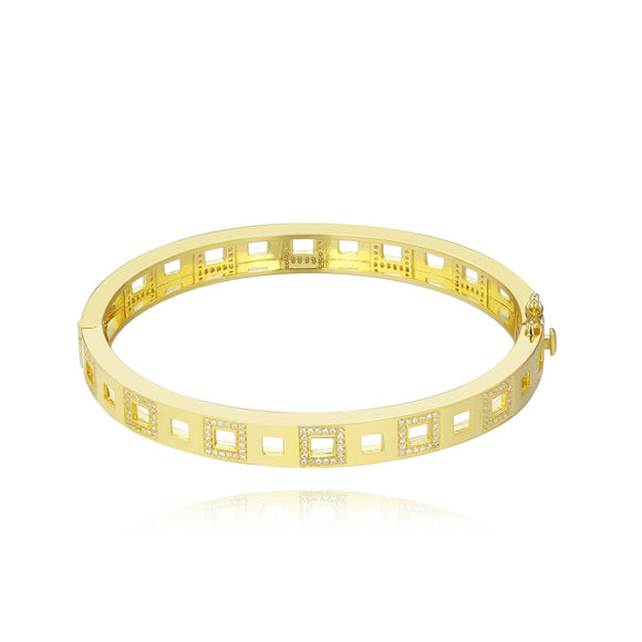 Open Square Pave Bangle